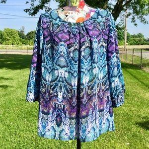 Black, Blue, & Purple Snakeskin 3/4 Sleeve Tunic